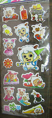 "Chinese Cartoon Pleasant Goat & the Big Bad Wolf Puffy Stickers 6 1/2"" x 2 3/4"""