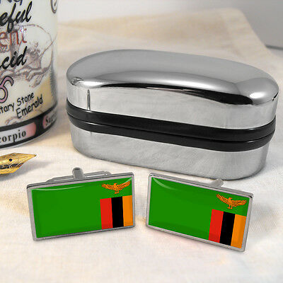 Zambia Flag Cufflinks & Box