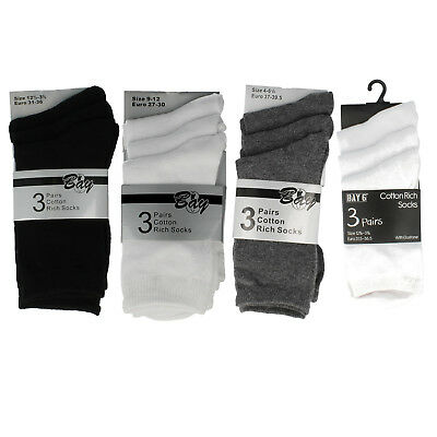 Girls and Boys school ankle socks Black Grey or White by Bay  £1.99