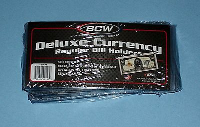 FIFTY (50) Deluxe Semi Rigid Regular Bill Currency Holders BCW - MADE IN AMERICA