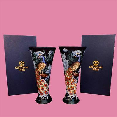 Beautiful boxed OLD TUPTON WARE porcelain PEACOCK pattern PAIR of VASES 20cm
