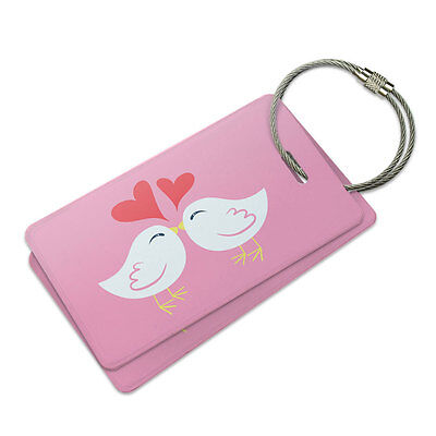 Sweet Kissing Birds in Love Pink Suitcase Bag ID Luggage Tag Set