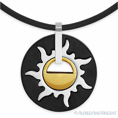 Stainless Steel Mayan Sun Tribal Native American Men's Pendant Charm Necklace