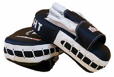 Boxing focus pads rex LEATHER white black CURVED hook jab mitts kickboxing