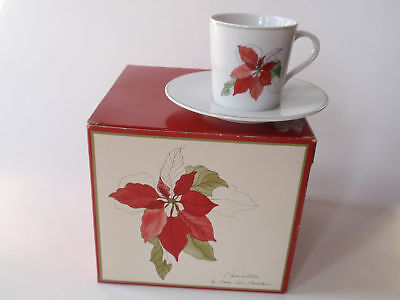Vintage Block Spal Poinsettia Christmas Pattern China Demitasse Set 4 MIB NEW