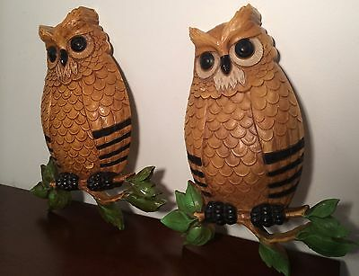 Set of 2 Cute Vintage 1976 Homco Owls Plastic Retro Wall Hanging Bird, on Branch