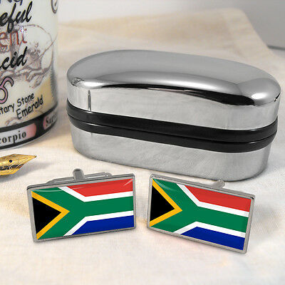 South Africa Flag Cufflinks & Box