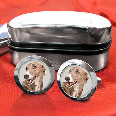 Greyhound Dog Cufflinks & Box
