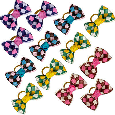 50/100pcs Grid Pattern Pet Dog Puppy Hair Bows Grooming Accessories for Yorkie