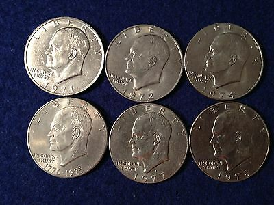 """1971 1972 1974 1976 1977 1978 Eisenhower Known as the """"IKE SILVER DOLLAR"""" Coin"""