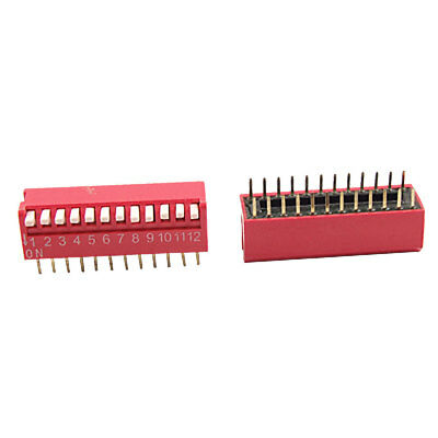 2 Pcs 2.54mm Pitch 12 Position Piano Type DIP Switch Red