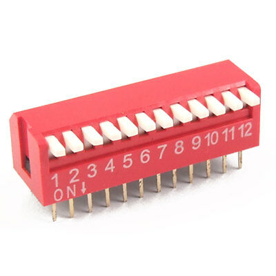 10 Pcs 2.54mm Pitch 12 Position Piano Type DIP Switch Red Ymfom