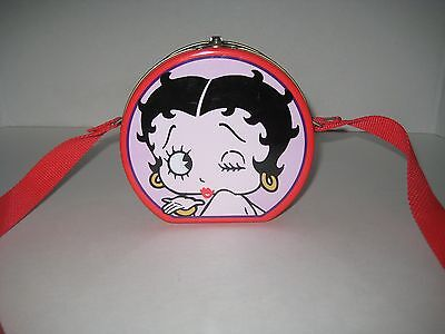 Small Lunch Box Pail Colorful Betty Boop With Red Canvas Shoulder Strap