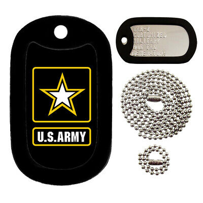 Military Dog Tags - Custom Embossed Tag Set - U.S. Army Tag Set
