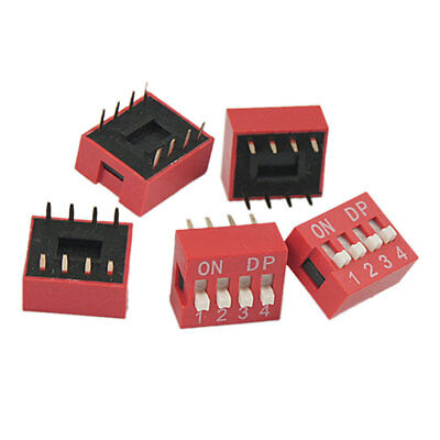 5 Pieces 2.54mm Pitch 4 Position Slide Type DIP Switch Red