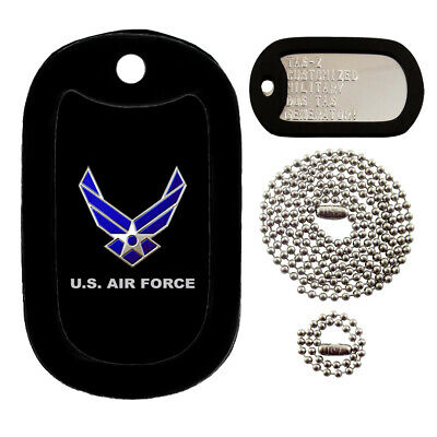 Military Dog Tags - Custom Embossed Tag Set - U.S. Air Force w/ Silencers