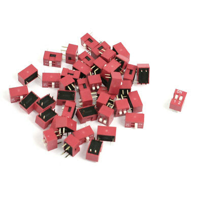 70 Pcs 2.54mm Pitch 2 Positions Slide Type DIP Switch Red