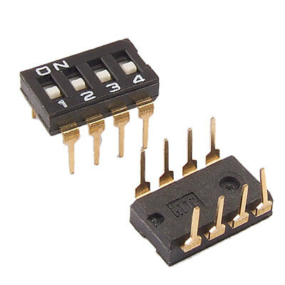 5 Pcs 2.54mm Pitch 4 Position IC Type DIP Switch Black Lkffe