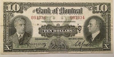 Reproduction $10 Ten Bank Of Montreal 1938 Chartered Bank Note Copy