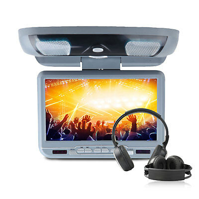 "L2 Car Grey 9"" HD Flip Down Overhead Roof Mounted Monitor DVD Player IR/SONY LEN"