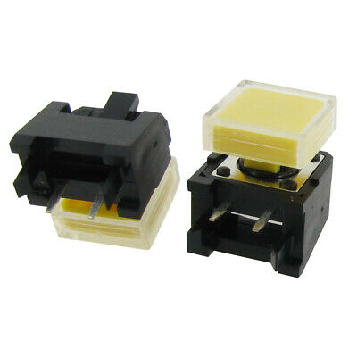 5pcs Momentary Tactile Push Button Switch Right Angle 12 x 12 x 9mm w Yellow Cap