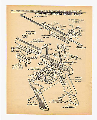 1958 Hi-Standard Auto Pistols Exploded Views Parts Lists Sports King Olympic .22