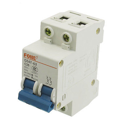 AC 400V 25A 2 Pole 2P Overload Protection Miniature Circuit Breaker