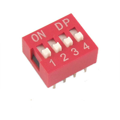 10 Pcs 2.54mm Pitch 4 Position Slide Type DIP Switch Red