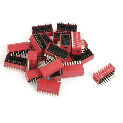 21 x Red 2.54mm Pitch 8 Positions Slide Type DIP Switches