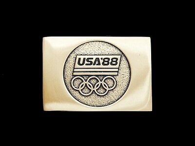 Ll07149 *nos* Vintage ***1988 Olympics*** Solid Brass Sports Belt Buckle