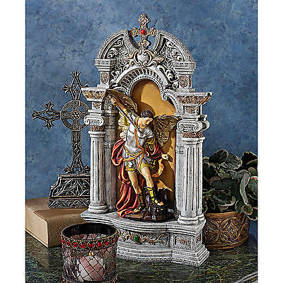 """Design Toscano 15½"""" The Niche Of St. Michael The Archangel Hand Painted Statue"""