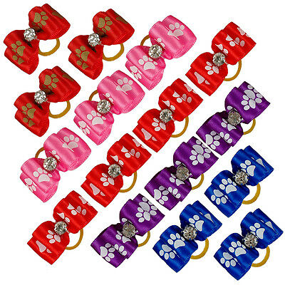 50/100pcs Pet Cat Dog Puppy Hair Bows Grooming Accessories Paw Print for Yorkie
