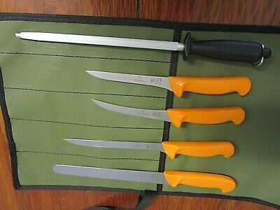 Swibo 5 Knife Fisherman Set Swiss Stainless With Scabbard And Aussie Canvas Wrap