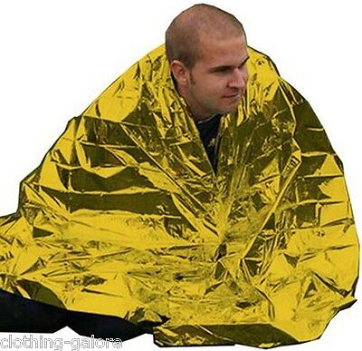 One Large Thermal Emergency Blanket Mens Womens Gold Camping Rescue First Aid