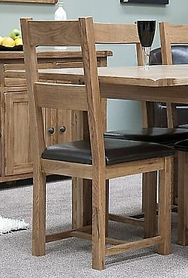 Brooklyn Solid Oak Furniture Set Of Four Leather Seat Dining Chairs
