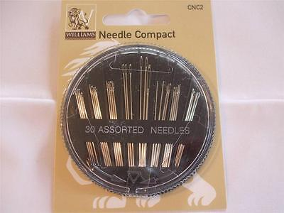Needle Compact From Williams - 30 Assorted Needles in a useful, Safe holder