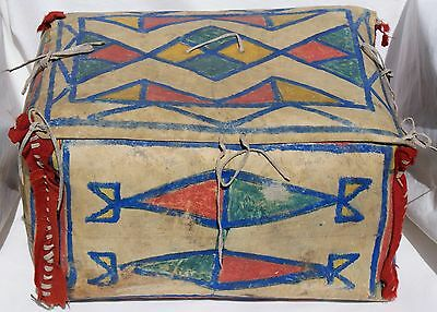 Late 19th Century Plains Indian Polychrome Painted Parfleche Box Trunk