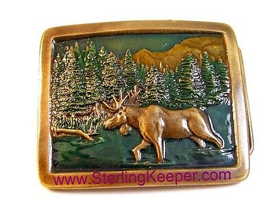 Vintage 1976 Indiana Metal Craft Enameled Moose Belt Buckle