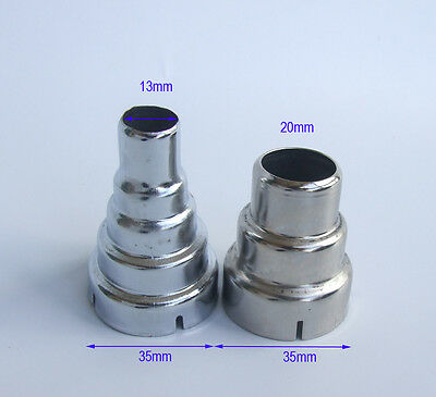 2x Iron circular nozzle 20/13mm for 35mm hand-held 1600W 1800W 2000W hot air gun