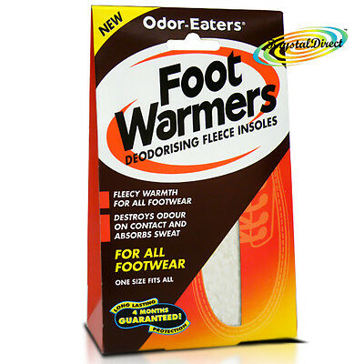 Odor Eaters Foot Warmers Deodorising Fleece Shoe Insoles For All Footwear