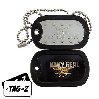 Military Dog Tags - Custom Embossed Tag Set - U.S. Navy Seal