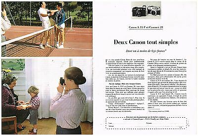 Publicité Advertising 1980 (2 pages) Appareils photo Canon A 35 F et Canonet 28
