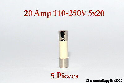 5 Fast Blow Ceramic Fuses 20A 20 AMPS 110-250V 5x20. USA Fast Shipping