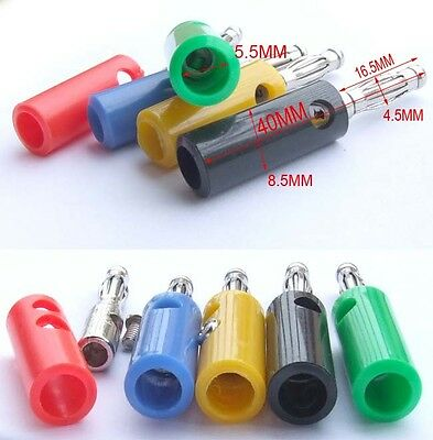 30PC 5 Color 4MM Banana Male plug for Socket Amplifiers Binding Post Electricity