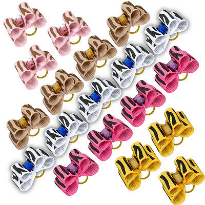 Wholesale 50/100pcs Bling Zebra Pet Cat Dog Hair Bows Grooming Accessories