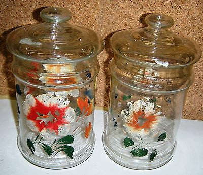 PAIR of VINTAGE Floral Crystal Glass Canister Cockie Jar w/Lid Hand Painted Rare