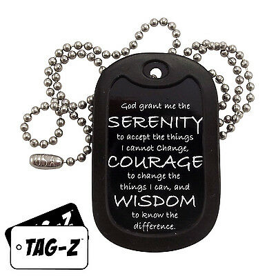 Military Dog Tag Necklace -  SERENITY PRAYER TAG  with a Dog Tag Silencer