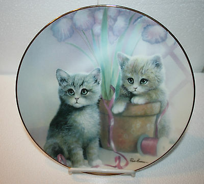 "8 1/4"" Wide Danbury Mint Coll Plate w/2 Kittens,Playful Companions by R Manning"