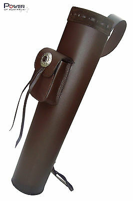 Traditional Leather Hand Crafted Back Arrow Brown Quiver, Genuine Leather, NEW