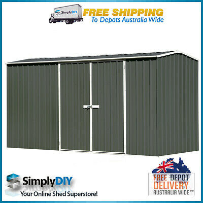 ABSCO ECO-nomy 3.74m x 1.52m GABLE ROOF GARDEN SHED DOUBLE DOOR Premier GREY